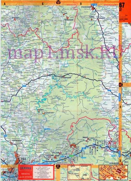 Карта Башкирии. Подробная