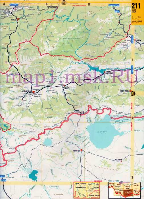 Карта Алтая. Подробная карта