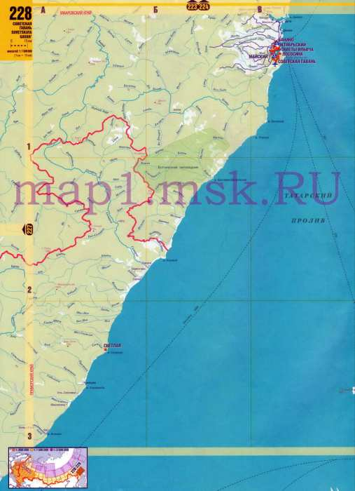 Карта южной части Сахалина.
